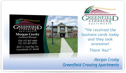 Greenfield Crossing Apartments Business Card Testimonial